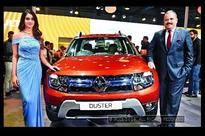 Aditi Arya unveils the new Renault Duster at the Auto Expo in Greater Noida