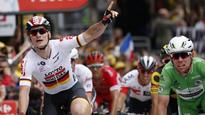 Cavendish wins tight stage to match Hinault's Tour de France record