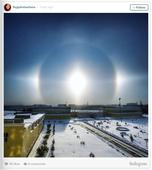 Stunning halo effect around the sun seen in Russia's North