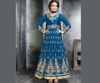 Embroidered Georgette Anarkali Suit in Teal Blue