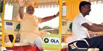 PM Modi riding on e-rickshaw