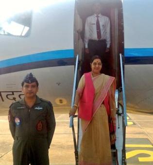 Sushma Swaraj leaves for Myanmar