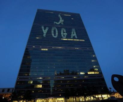 Yoga lights up United Nations HQ