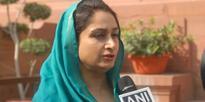 Harsimrat Kaur Badal talking to mediapersons at Parliament