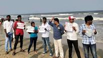 Cauvery issue: Flash protest at Chennai's Marina beach, demonstrators raise anti-BJP slogans