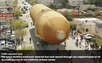 Space Shuttle fuel tank ET-94 arrives at its new home
