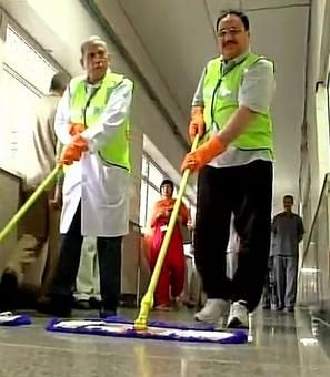 Health minister Nadda picks up the broom at AIIMS