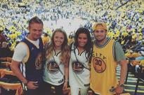 Man United star Daley Blind and Franck Ribery watch Cleveland Cavaliers vs Golden State Warriors in NBA Finals
