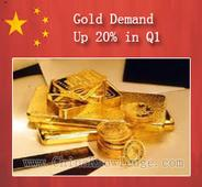 China's gold demand up 20% in Q1