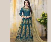 Embroidered Art Silk Abaya Style Suit in Dark Teal Green