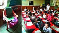 Teacher sits on 6 mats, kids on floor; DEO issues notice