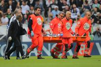 Fears as Marchisio stretchered off Juventus' midfielder Claudio Marchisio leaves the pitch on a stretcher a...