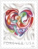 USPS issues quilled paper heart forever love stamp for Valentine's