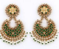 Cubic Zirconia Diamond Studded Earring In Golden and Green