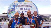 Qatar finish third in AVC Beach Tour Palembang... The winning pair with officials. (Photo: QOC)   Palembang: Qa...