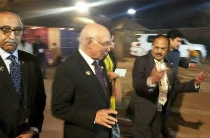 Doval, Aziz talk briefly; Pak calls it meet, India an 'informal chat'