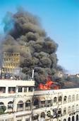 Metro House on fire