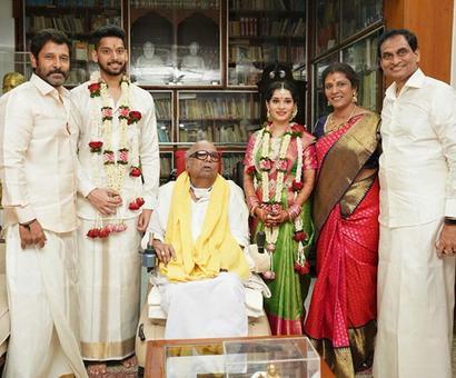 PIX: Vikram's daughter weds M Karunanidhi's great-grandson
