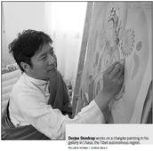 Painter blazing trail for thangka