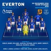 Hull City v Everton starting line-ups