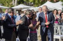 Stanford faculty honor President John L. Hennessy with gifts and accolades