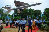 Decommissioned MIG 21 fighter plane on display in city