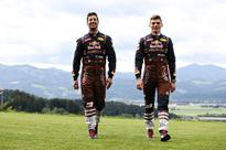 Daniel Ricciardo and Max Verstappen get lederhosen overalls - then have to pose on a mountain