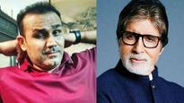 Virender Sehwag used his inner 'Bachchan' to congratulate Team India and Big B was quick to spot it