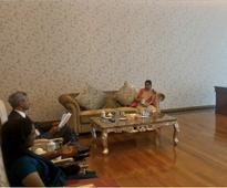 Sushma Swaraj in Myanmar; holds talks with Aung San Suu Kyi, President U Htin Kyaw