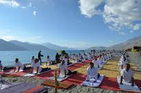 ITBP contingent performs Yoga at Pegong Lake