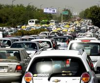 Huge traffic jams in Central Delhi