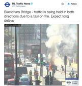 Black cab bursts into flames on Blackfriars Bridge in London