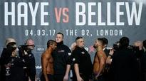 David Haye weighs in almost a stone heavier than Tony Bellew as the Hayemaker predicts 'violent, destructive knockout'