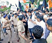 Youth Cong. workers stage protest at Circuit House