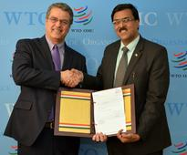 Mr. J.S. Deepak, Ambassador/Permanent Representative of India to the WTO presents his letter of Credentials to Director-General, WTO
