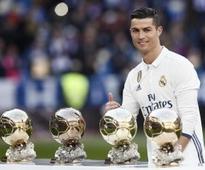Cristiano Celebrates 4th Ballon dOr at Santiago Bernabeu