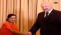 Sushma Swaraj, Belarus President discuss steps to strengthen bilateral relations