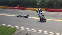 Car flips as result of controversial new rumble strips at Spa