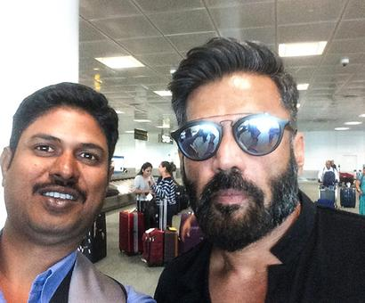 Spotted: Suniel Shetty at Newark