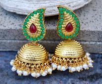 Meenakari Earring in Green and Golden