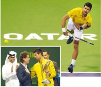 Djokovic crowned champion in Qatar Emir H H  Sheikh Tamim bin Hamad Al  Thani watching the final of Q...
