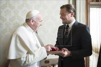 Pope Francis receives Leonardo Di Caprio