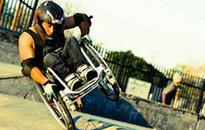 Fotheringham freestyles on his wheelchair