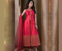 Embroidered Front Slit Straight Cut Art Chanderi Silk Suit in Fuchsia