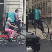 No, your eyes do not deceive you - that really is a Deliveroo driver riding a penny farthing