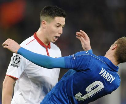 Champions League: Nasri brands Vardy 'a cheat' after red card
