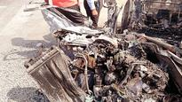 3 killed after car rams into dumper, catches fire