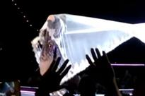 Madonna has ANOTHER wardrobe malfunction as veil gets caught on stage