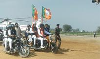 Amit Shah leads BJP bike rally in Haryana's Jind, says 'party will do sabka vikas'