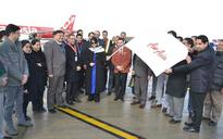 Air Asia launches Srinagar operations, Chief Minister Mehbooba Mufti receives, sees off inaugural flights